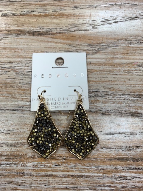 Jewelry Gold Black Rhinestone Earrings