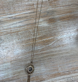 Jewelry Gold Locket Tassel Necklace
