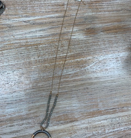 Jewelry Half Moon Gray Bead Necklace