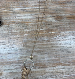 Jewelry Long Circle Metal Tassel Necklace