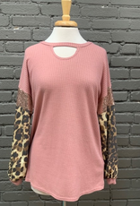 Long Sleeve Blush Top w/ Sequins & Leopard Sleeves