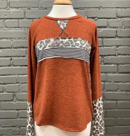 Long Sleeve Rust LS w/ Animal Print Contrast