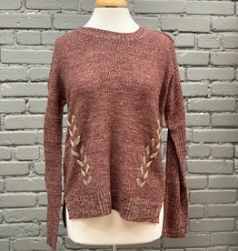 Sweater Rust Lace Up Side Sweater
