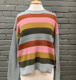 Sweater Striped Sweater w/ Elbow Patches