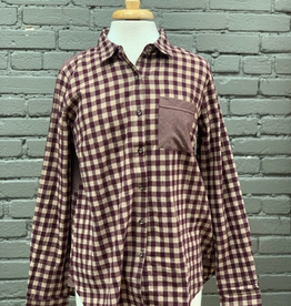 Long Sleeve Taupe/Wine Checkered Button Down Shirt