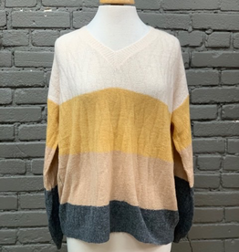 Sweater Ivory Color Block Sweater