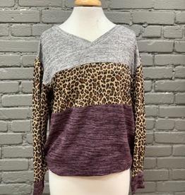 Long Sleeve Purple Animal Print Heathered Top