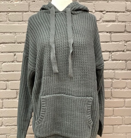 Sweater Grey Hooded Heavy Knit Sweater