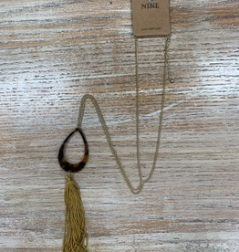 Jewelry Long Gold Leopard w/ Tassel Necklace