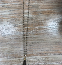 Jewelry Long Gray Bead Necklace
