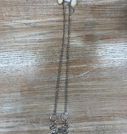 Jewelry Long Silver Neckalce w/ Cream Stone