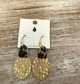 Jewelry Hammered Disc w/ Leopard Earrings