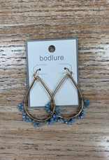 Jewelry Gold Hoops w/ Blue Beads
