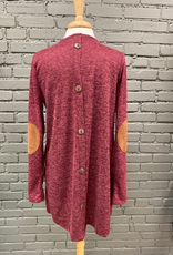 Cardigan Maroon Cardi w/ Buttons Elbow Patch