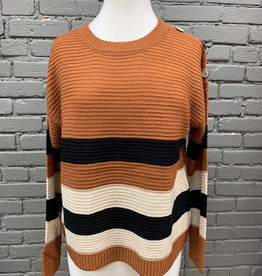 Sweater Rust Stripes Button Sweater