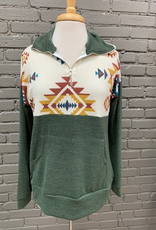 Pullover Olive Tribal Zip Pullover
