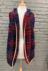 Vest Red/Navy Plaid Hooded Vest