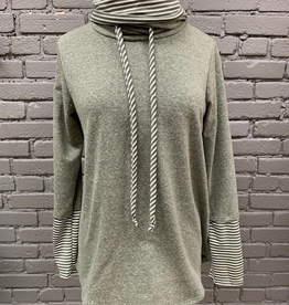 Long Sleeve Olive Stripe LS Turtleneck