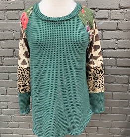 Long Sleeve Green Thermal Mixed Print LS