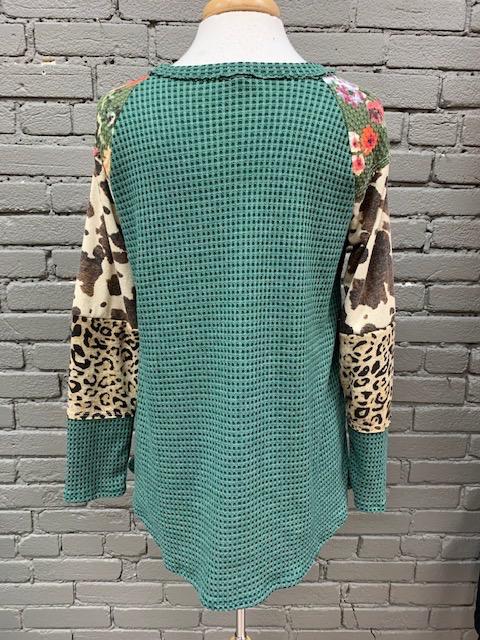 Long Sleeve Green Thermal Mixed Print LS