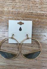 Jewelry Gold Oval Earrings w/ Design