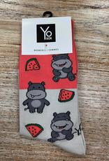 Socks Hippo & Watermelon Crew Socks