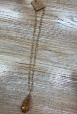 Jewelry Long Tan Bead Pendant Necklace