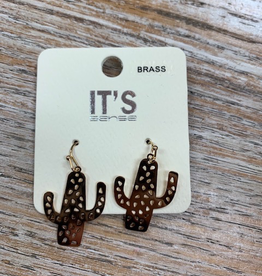Jewelry Gold Cactus Earrings