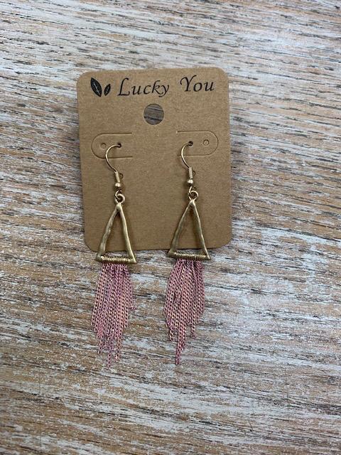 Jewelry Gold Triangles w/ Pink Tassels Earrings