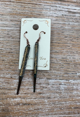 Jewelry Long Gold Patina Finish Earrings