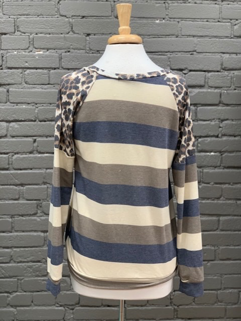 Long Sleeve Blue Stripe LS w/ Leopard