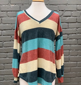 Long Sleeve Multi Stripe LS w/ Puff Sleeves