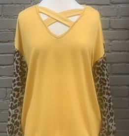 Long Sleeve Mustard Top w/ Leopard Puff Sleeves