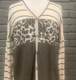 Long Sleeve Mocha Buttoned Front Top w/ Stripes