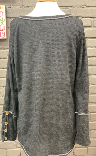 Long Sleeve Black Thermal Top w/ Button Sleeve Detail