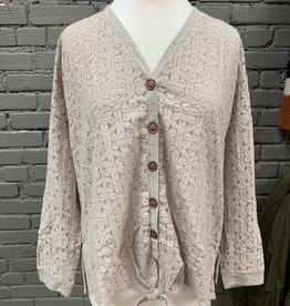 Cardigan Khaki Button Lace Front Cardi