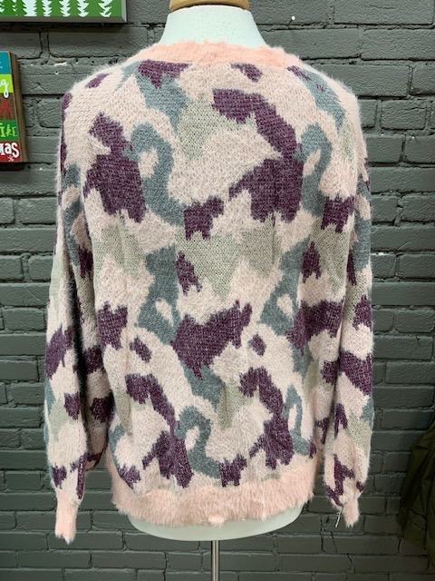 Sweater Pink Camo Fuzzy Sweater