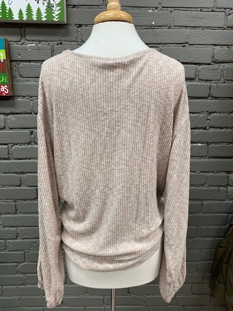 Long Sleeve Taupe Ribbed Twist LS