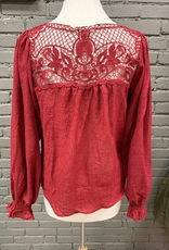 Long Sleeve Burg LS Front Tie Lace Back