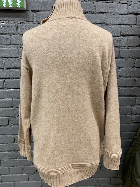 Sweater Taupe Button Turtleneck