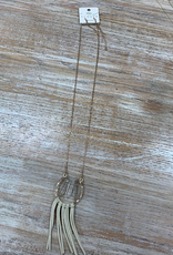 Jewelry Gold Horseshoe Gem Tassel Necklace