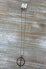 Jewelry Long Gold Circle Bar Necklace