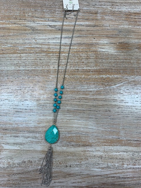 Jewelry Turq Beaded Tassel Neaklce