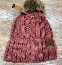 Beanie Knit Pom Beanie w/ Fleece Lining