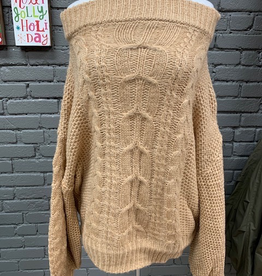 Sweater Tan OTS Puff Sleeve Sweater