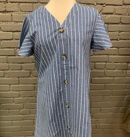 Dress Eva Button Front Blue Dress