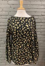 Long Sleeve Black & Gold Leopard Waffle Top