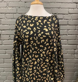 Long Sleeve Black & Gold Leopard Waffle Top