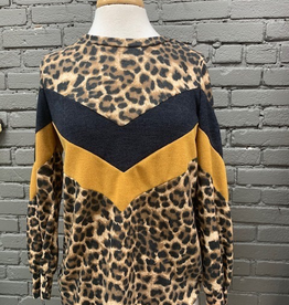 Long Sleeve Animal Print Color Block Top