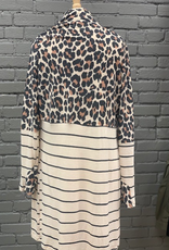 Cardigan Animal Print Color Block Cardigan